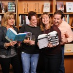 Read any good books lately?  Guests Julie Marshall, Kristyn Gleason, Kim Deal and James Drakes at Party-in-the-Stacks fundraiser to benefit PWC public libraries.