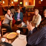 Photo caption:  Clockwise from left, Write by the Rails members Cindy Brookshire, Valerie Wallace, Claudia Lefeve, Leigh Giza, Mary Kay Montgomery, Nancy West and Dan Verner participated in a recent meet-and-greet at Panera's on Liberia Avenue in Manassas.  Photo by Chip Deyerle.