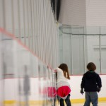 Zoe, 7 regains her balance as Aidan, 5, skates alongside. Photo by Sean Floars