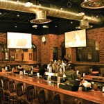 High-definition projection screen televisions, each six-by-eight feet, surround the bar at all the restaurants of The All American Steakhouse. Along with hand-cut steaks cooked on mesquite wood, the franchise's menu includes a rich variety of dishes and fun creations