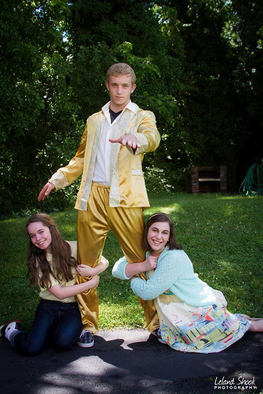 Ursula (Clare Baker) and Kim (Megan Griggs) with Conrad Birdie (Landon Dufrene) Photo by Leland Shook.