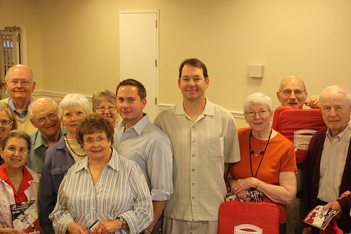 Residents from Westminster at Lake Ridge with Josh Olerud, general manager, and Eric Montague