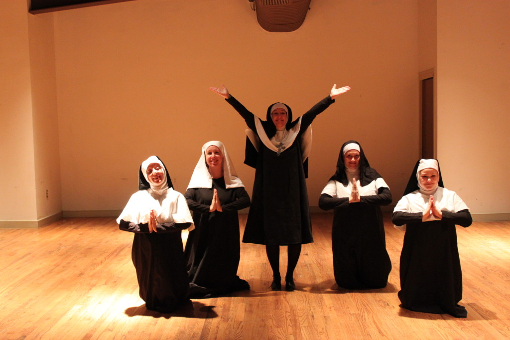 Photo by Rachel Newdorf   Center for the Arts' Rooftop Production's NUNSENSE.  Practicing for the sister's talent show are Nora Zanger, Mary Rook, Tina Mullins, Tracy Cosker, and Brooke Angel.