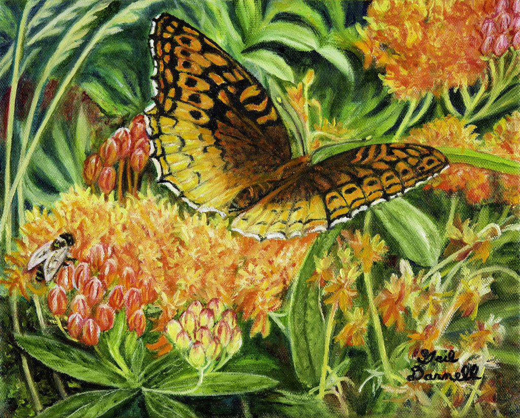 """Great Spangled Fritillary Butterfly & Honey Bee"" by Gail Darnell, Woodbridge, VA"