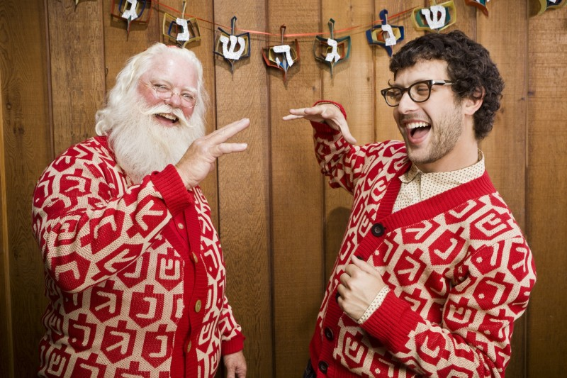 Santa celebrates his first Chanukah.  http://www.geltfiend.com/pages/santas-first-chanukah