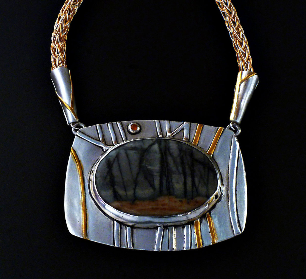 """""""A Walk in the Woods"""" by Sherry Chaples, Springfield, VA (Picasso Jasper, Fine Silver & 24K  Pendant Necklace)"""