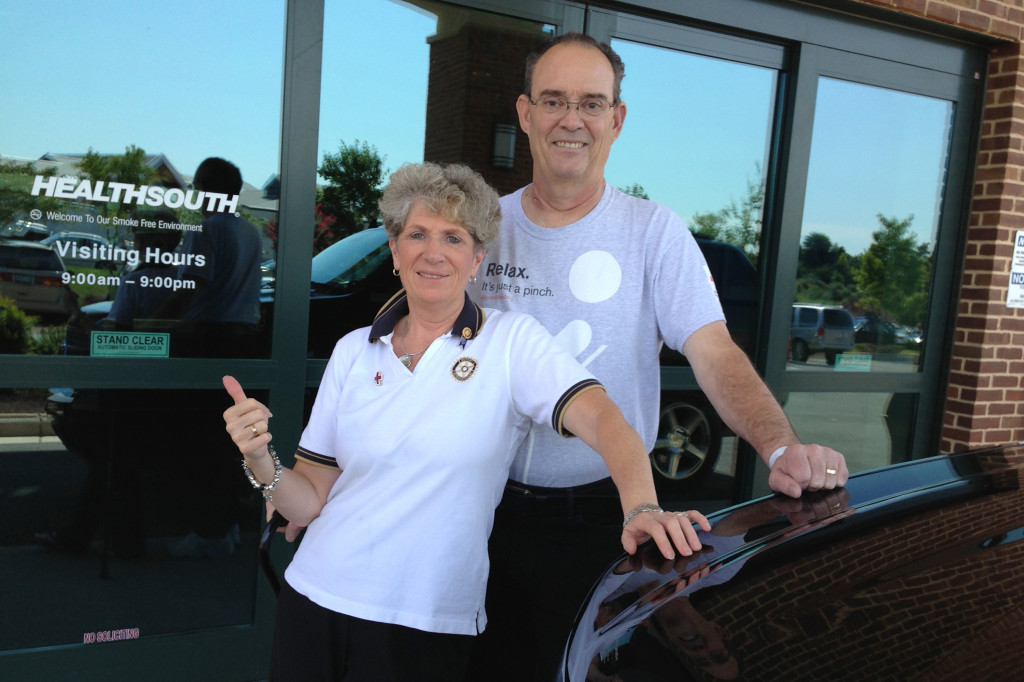 Donna and Don Flory, in a photo taken Aug. 26 last year, four weeks from the date of Don's heart attack. He was leaving HealthSouth Rehabilitation Center of Northern Virginia, to head home for the first time since the attack.