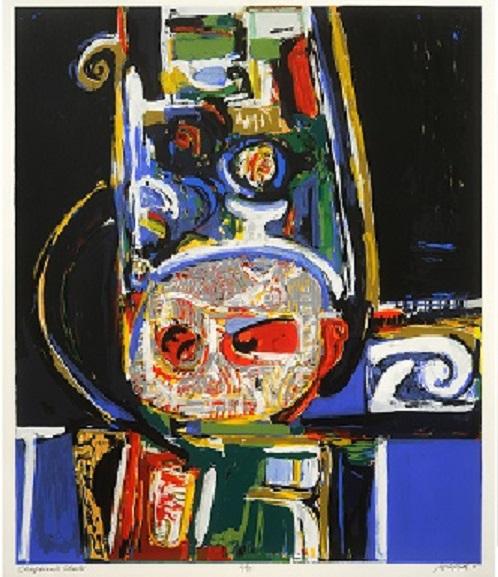 """Chieftain's Chair, David C. Driskell, 34 x 30 ¾, 1966"
