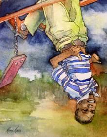 """""""Thumbs Up"""", Marni Maree, Watercolor, 9x7"""