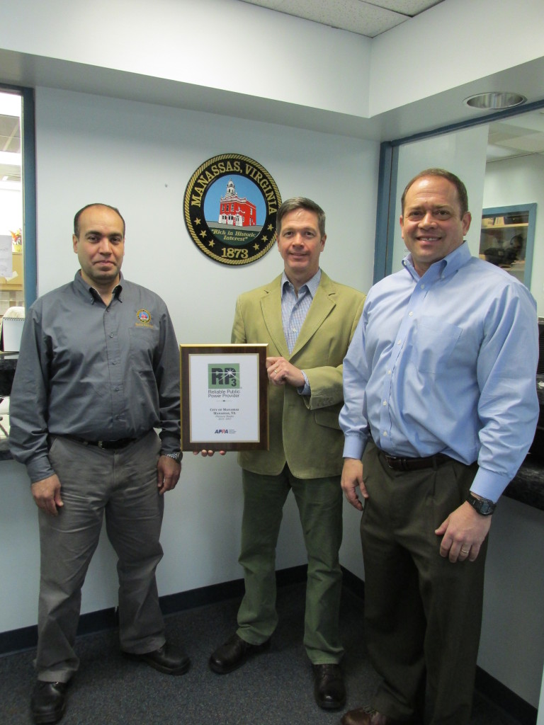 L to R: Tarek Aly, deputy director of electric, David Jones, chief electrical engineer, Mike Moon, director of public works and utilities (Manassas City employees)