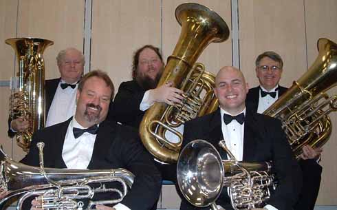 The band's ensemble, Occoquan Heavy Metal. Members (from left): Lee Culbreth, Don Stewart, James Davis, Dean Miller and Jack Tilbury, Prince William Community Band president.