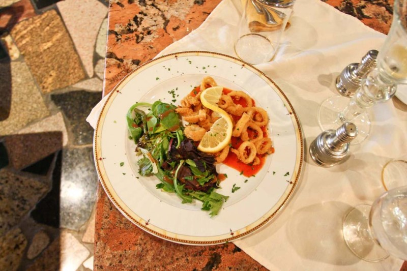 Among the restaurant's fare is this fresh calamari appetizer, served with a specialty marina sauce and mixed greens with dressing.
