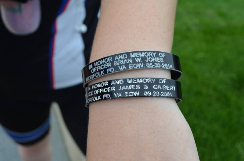 Road To Hope Bicycle Tour Honors Fallen Officers Officer Katherine Byers Of The Norfolk Police Department Displays Remembrance Bracelets