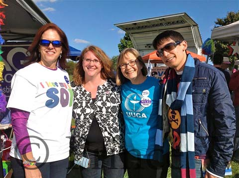 From left to right: Lisa Boorom (PWC Adult Group facilitator), Inga Vinroot (PWC Adult Group facilitator), Elizabeth Fogarty (Arlington Youth Group facilitator), and Jason Shriner (PWC Youth Group facilitator) from NOVA Pride 2014. Photo by TJ Flavell