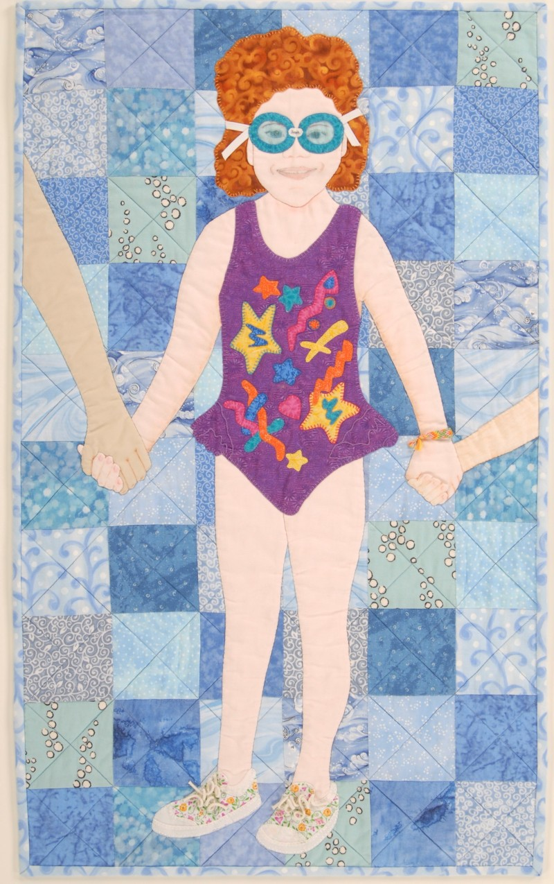 """Middle Child Day"", art quilt by Shannon Shirley, 30"" x 18"""