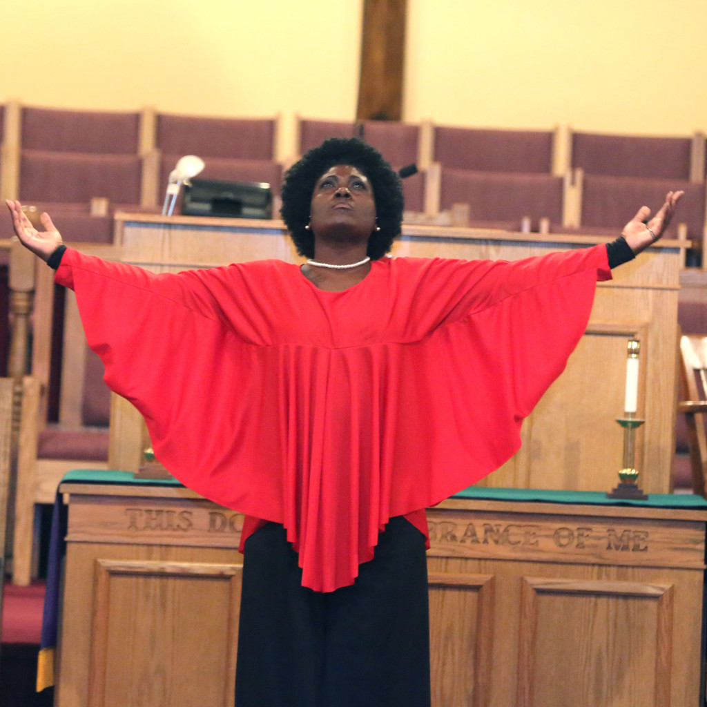 Marie Williams, of the Creative and Performing Arts Center Inc., dances to song Glory at the Little Union Baptist Church in Dumfries as part of a celebration of the 50th Anniversary of the signing of the Voting Rights Act of 1965