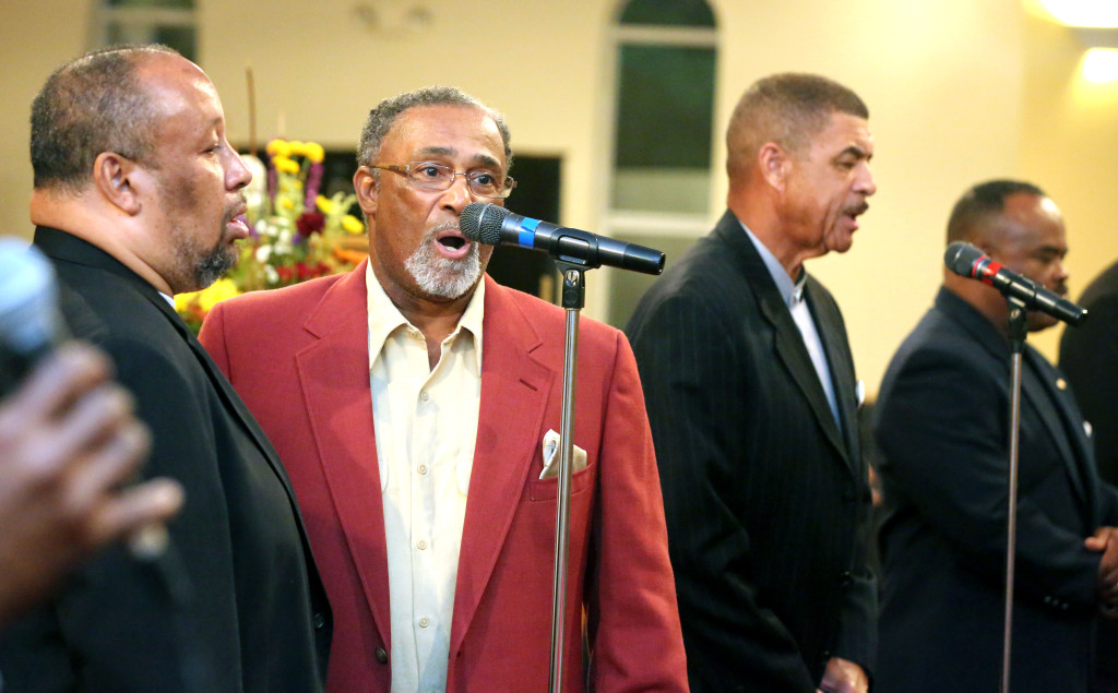 Members of the Little Union Baptist Church Male Chorus sing at the church in Dumfries during a service commemorating the 50th Anniversary of the signing of the Voting Rights Act of 1965.