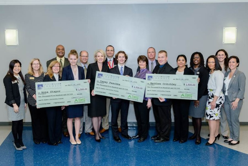The Prince William Chamber of Commerce is now accepting applications for their 2016 Scholarship Program. Three winners will be selected and honored at the Chamber's Education & Innovation Luncheon on April 12, 2016. In 2015 the recipients were Anna Stapor of CD Hylton High School, Casey Peschka of Woodbridge Senior High School and Matthew Critchley of Forest Park High School.