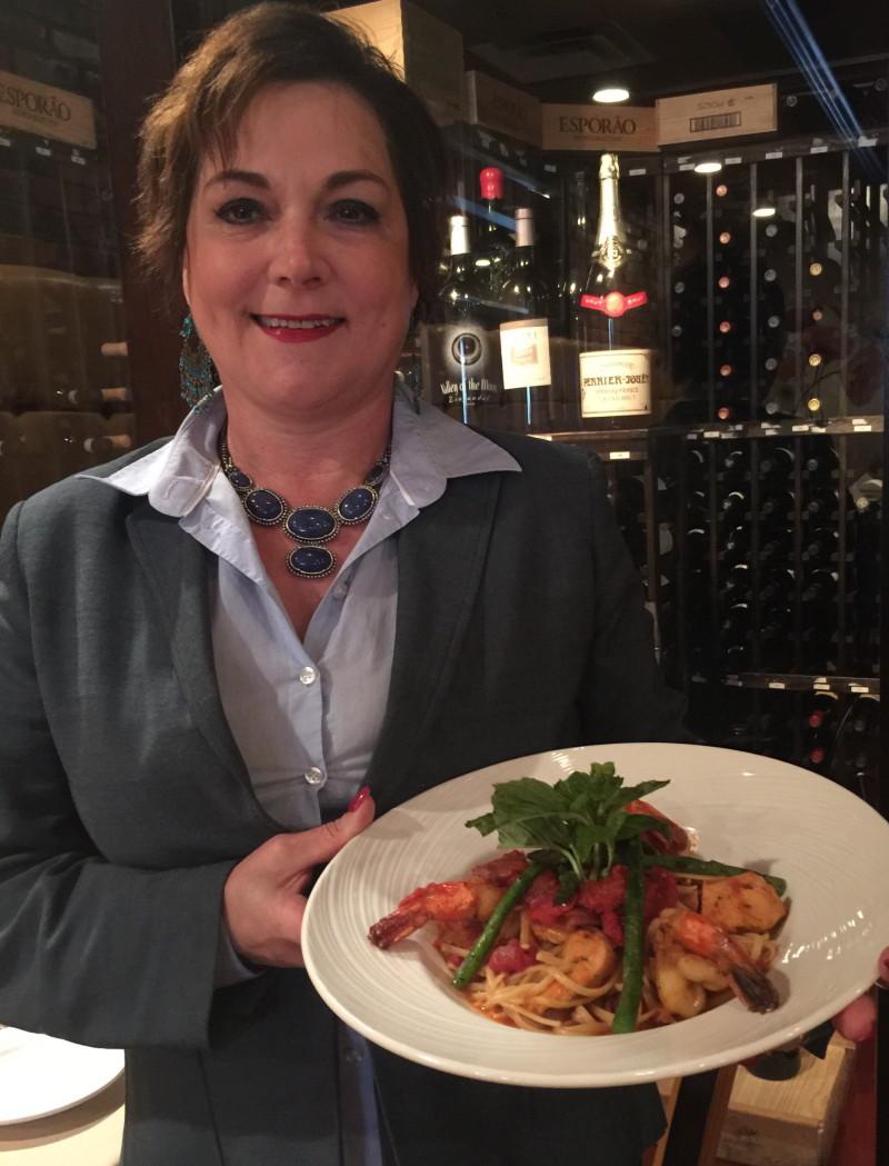Alice Pires, Owner of Monza/Carmellos, with Historic Manassas Restaurant Week dish, Linguine Mar e Monte
