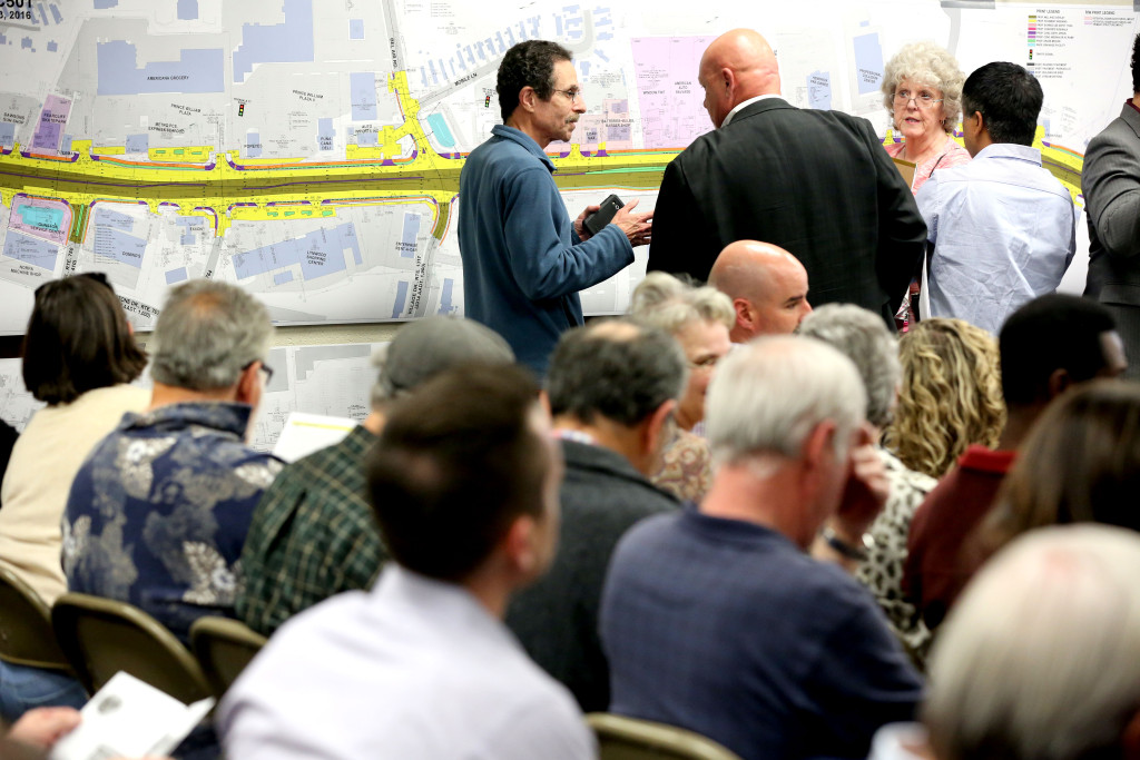 A crowd of people recently gathered at Potomac Community Library for a community meeting on the U.S. 1 widening project between Featherstone Road and Mary's Way.