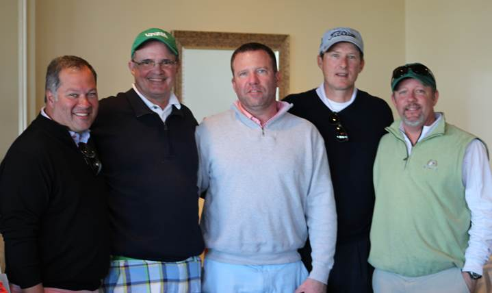 Team Virginia Business Magazine: (From left) Josh Rahman; Hunter Bendall; Scott Wright; Ben Simms, representing event sponsor TML-A Xerox Company; and Ben Tyler—winning team on the front 9 of the course.
