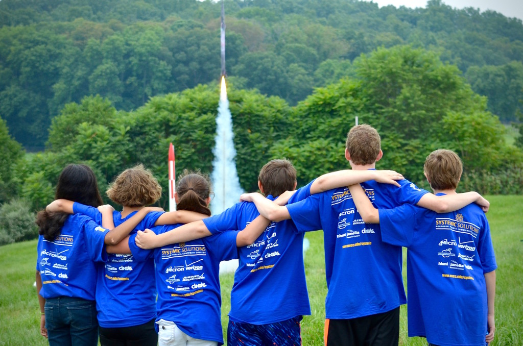 Students participate in a rocketry camp