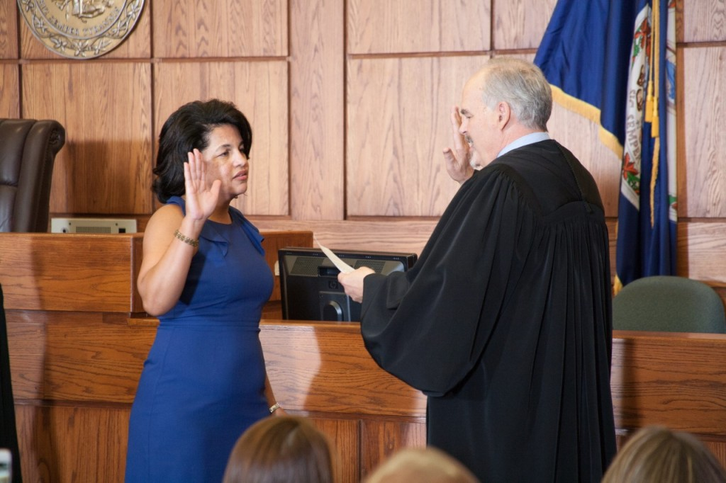 The Honorable Petula C. Metzler sworn in as a Judge of Prince William County General District Court by The Honorable Lon E. Farris, Judge of Prince William County Circuit Court.