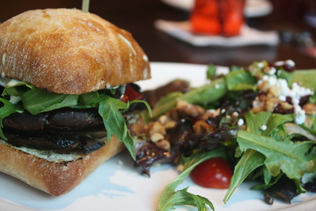 Grilled portobello sandwich on ciabatta bread