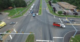 Dual left-turn lanes on Route 234 at Hoadly Road