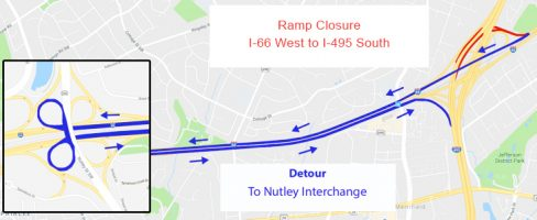 lane closures Route 7 and I-495 7/13-7/14/2018