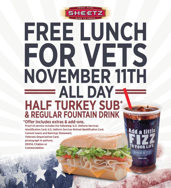 Sheetz, Veterans Day, free meal, free carwash